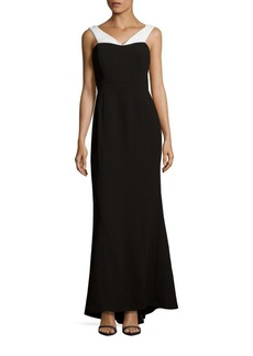 Calvin Klein Contrast Off-the-Shoulder Gown