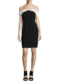 Calvin Klein Contrast Off-the-Shoulder Sheath Dress