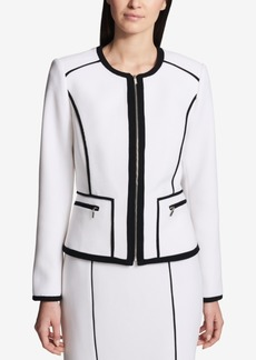 Calvin Klein Contrast-Piped Blazer, Regular & Petite