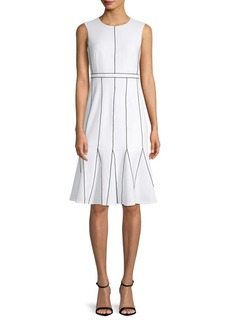 Calvin Klein Contrast-Stitch A-Line Dress