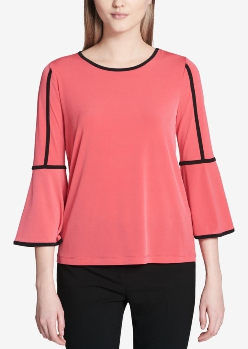 89b2dd584a3fe7 On Sale today! Calvin Klein Calvin Klein Contrast-Trim Bell-Sleeve ...