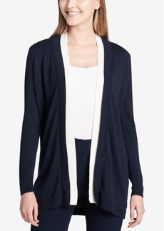 Calvin Klein Contrast-Trim Open-Front Cardigan