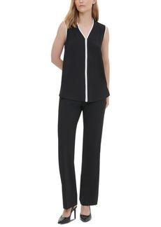 Calvin Klein Contrast-Trim Sleeveless Top