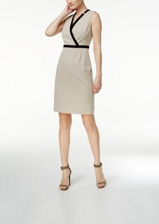 Calvin Klein Contrast-Trim Surplice Sheath Dress