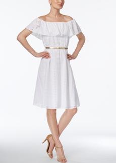 Calvin Klein Cotton Belted Off-The-Shoulder Dress