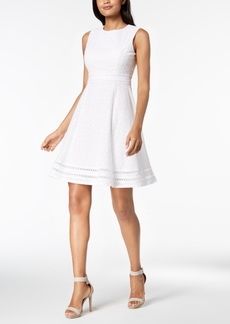 Calvin Klein Cotton Eyelet Fit & Flare Dress, Regular & Petite