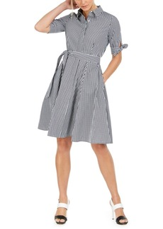 Calvin Klein Cotton Plaid Shirtdress
