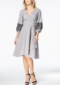 Calvin Klein Cotton Striped Embroidered Fit & Flare Dress