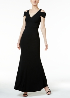 Calvin Klein Crepe Cold-Shoulder Gown