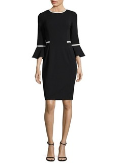 Calvin Klein Crepe Contrast Sheath Dress