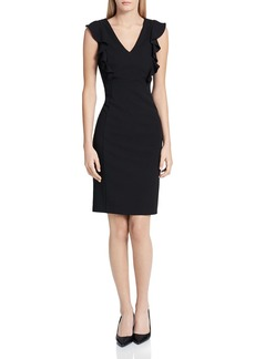 Calvin Klein Crepe Ruffle Sheath Dress