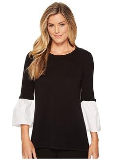 Calvin Klein Crew Neck w/ Poplin Flare Sleeve Sweater