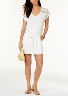 Calvin Klein Crochet-Shoulder Tunic Cover Up, Created for Macy's Style Women's Swimsuit