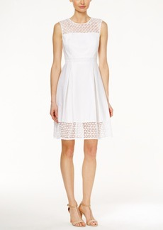 Calvin Klein Crochet Sleeveless Fit & Flare Dress