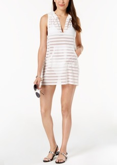 Calvin Klein Crochet Striped Hooded Tunic Cover-Up Women's Swimsuit