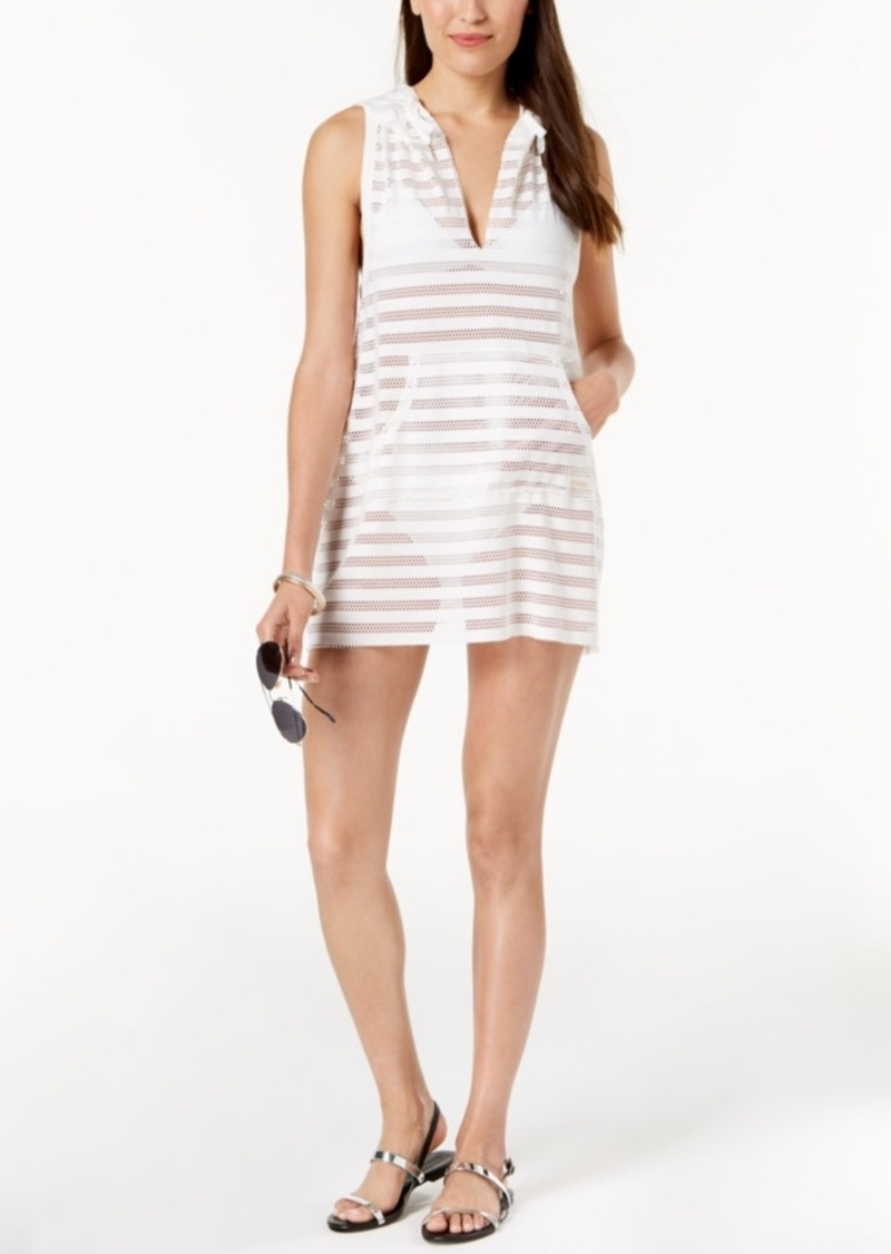 Calvin Klein Crochet Striped Hooded Tunic Cover-Up Women's Swimsuit