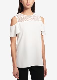 Calvin Klein Crochet-Trim Cold-Shoulder Blouse