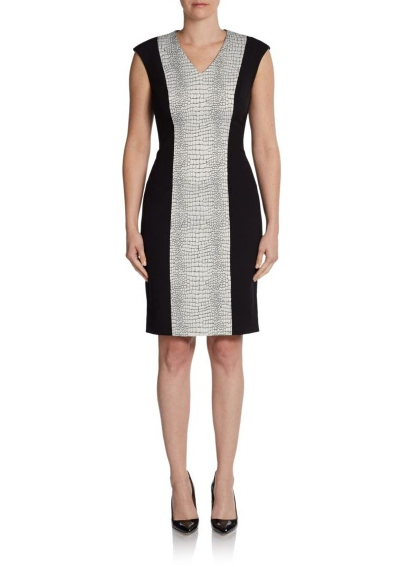 Calvin Klein Crocodile Jacquard Panel Sheath Dress
