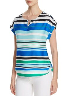 Calvin Klein Cuff Sleeve Stripe Top