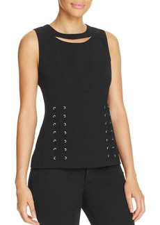 Calvin Klein Cutout Lace-Up Top