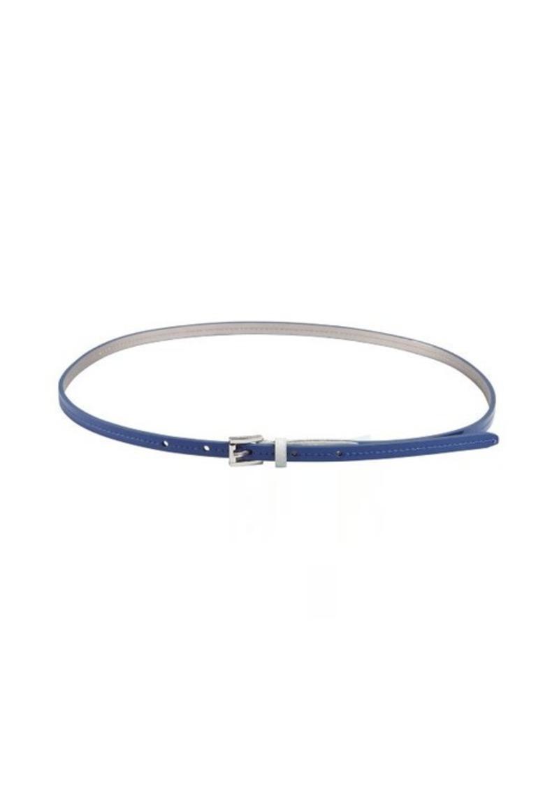 Calvin Klein dark blue patent skinny belt