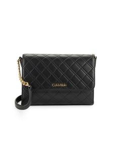 CALVIN KLEIN Diamond-Quilted Leather Shoulder Bag