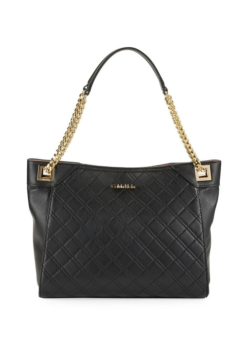 Calvin Klein Diamond Quilted Leather Tote