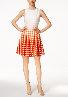 Calvin Klein Dip-Dyed Grid-Print Fit & Flare Dress