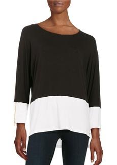 CALVIN KLEIN Dolman-Sleeve Jersey Colorblocked Top