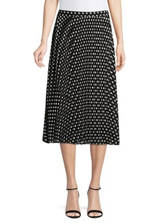 Calvin Klein Dot Pleated Midi Skirt