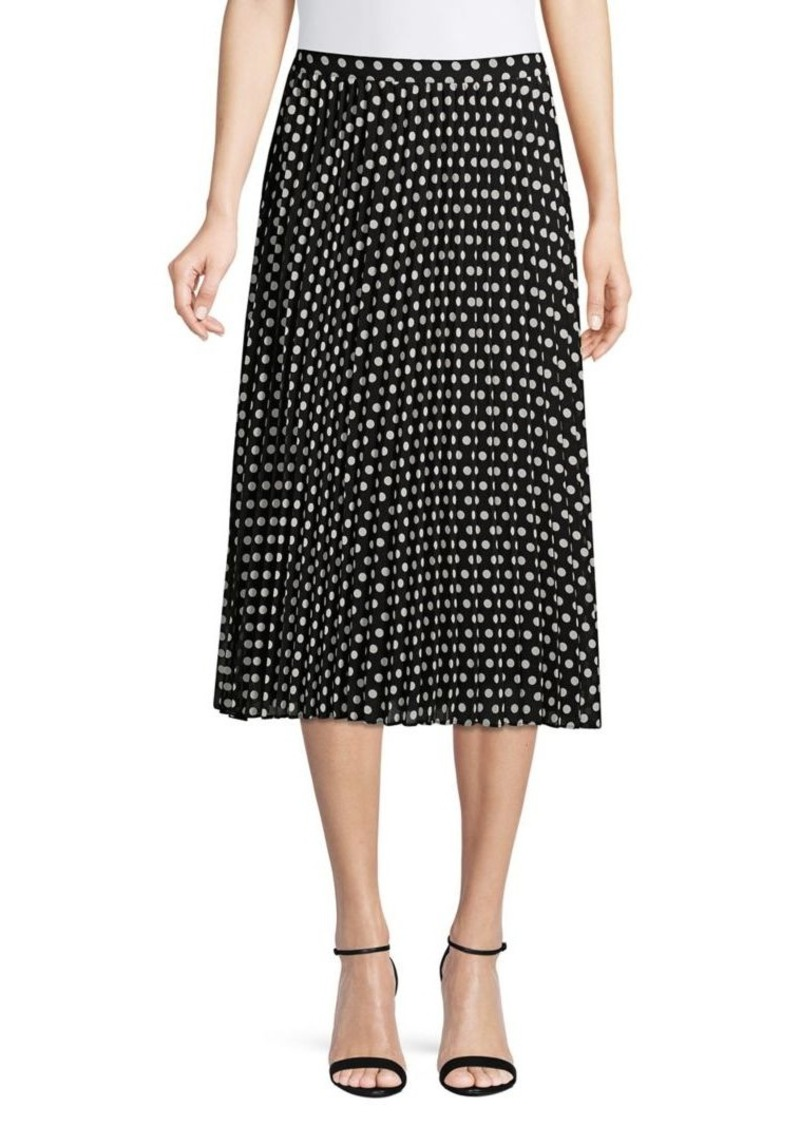 Calvin Klein Dot Pleated Midi Skirt