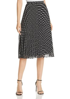 Calvin Klein Dot-Print Pleated Midi Skirt