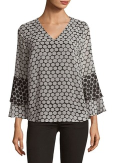 Dotted Bell-Sleeve Blouse