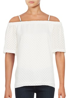 CALVIN KLEIN Dotted Off-the-Shoulder Top