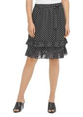 Calvin Klein Dotted Ruffle Trim Skirt