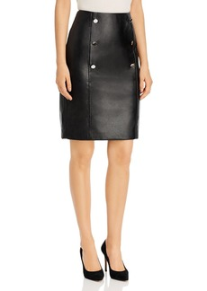 Calvin Klein Double-Breasted Faux Leather Pencil Skirt