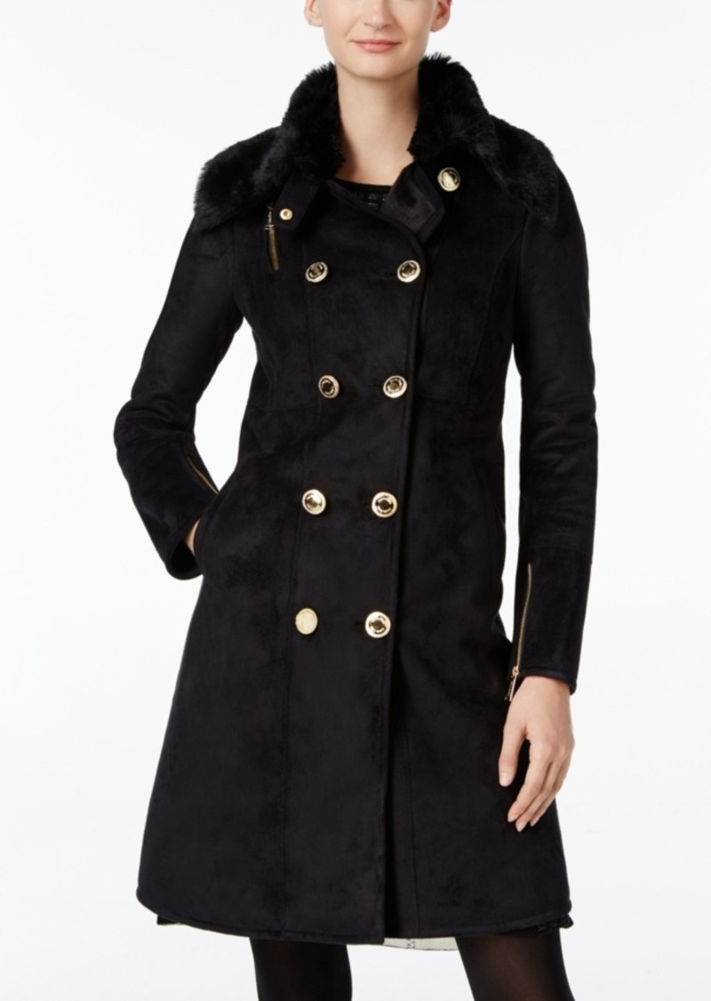 Calvin Klein Double-Breasted Faux-Shearling Walker Coat