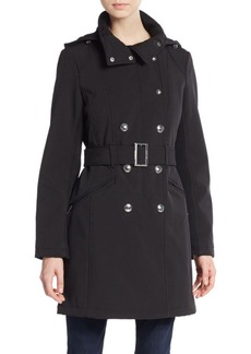 Calvin Klein Double-Breasted Hooded Coat