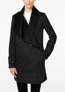 Calvin Klein Double-Face Wool-Blend Asymmetrical Wrap Coat