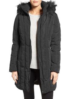 Calvin Klein Down & Feather Fill Coat with Faux Fur Trim Hood (Regular & Petite)