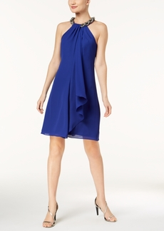 Calvin Klein Draped Embellished A-Line Dress
