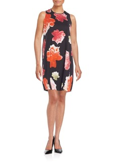 Calvin Klein Draped Floral Print Shift Dress