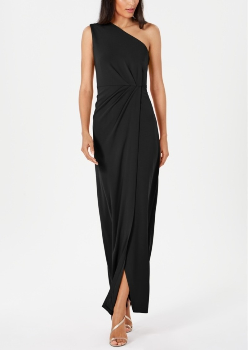 Calvin Klein Draped One-Shoulder Gown