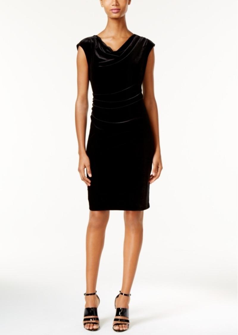 Calvin Klein Draped Velvet Bodycon Dress