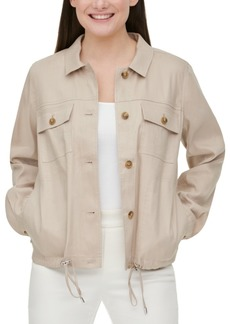 Calvin Klein Drawstring-Waist Linen Jacket
