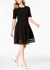Calvin Klein Elbow-Sleeve Illusion-Detail Dress