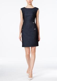 Calvin Klein Embellished Denim Sheath Dress