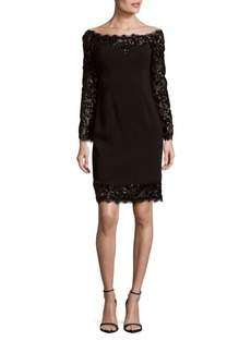 Calvin Klein Embellished Eyelash-Trim Dress
