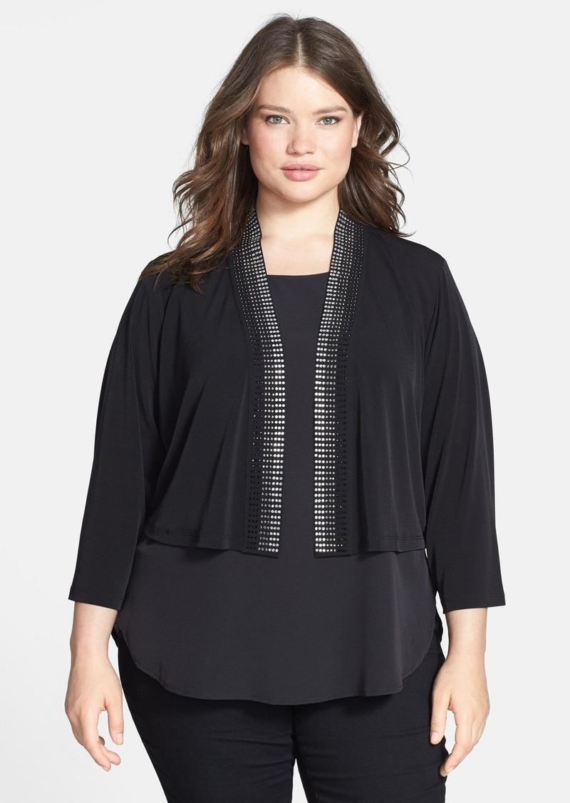 Calvin Klein Embellished Matte Jersey Shrug (Plus Size)