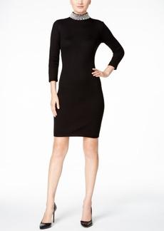 Calvin Klein Embellished Mock-Neck Sweater Dress